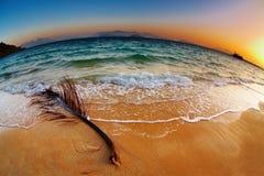 Praia tropical no nascer do sol, Tailândia fotografia de stock