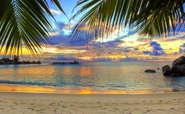 Praia tropical no por do sol Imagem de Stock Royalty Free