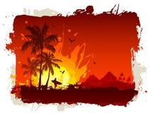 Praia tropical no por do sol ilustração do vetor