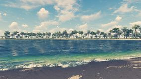 Praia tropical vazia e oceano claro ilustração stock