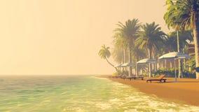 Praia tropical vazia no por do sol imagem de stock royalty free