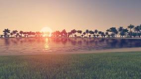 Praia tropical vazia no por do sol ilustração royalty free