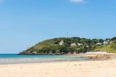 A praia vazia de Barneville Carteret, Normandy, França Fotos de Stock Royalty Free