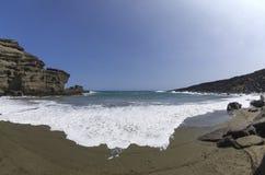 Praia verde da areia, Havaí Fotografia de Stock