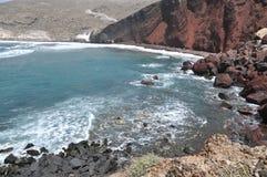 Praia vermelha, Santorini Foto de Stock
