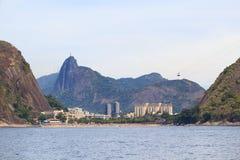Praia vermelha Urca Corcovado Cristo o redentor, Rio de janeiro fotos de stock
