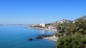 Praia vista-Andaluzia-Espanha-Europa panorâmico de Benalmadena Foto de Stock Royalty Free