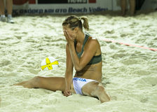Praia voleibol-Emilia Nystrom Fotos de Stock Royalty Free