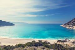 Praia xi dourada no console do kefalonia em greece Fotografia de Stock Royalty Free