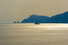 Praiano sunset on the crag. Of Capri and Punta Campanella Royalty Free Stock Photo