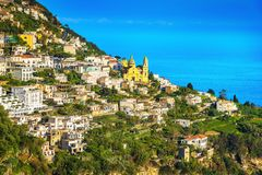 Praiano town in Amalfi coast, panoramic view. Italy. Europe royalty free stock image