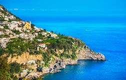 Praiano town in Amalfi coast, panoramic view. Italy. Europe Royalty Free Stock Photos