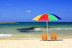 Praias da espera mediterrânea para você! Imagem de Stock