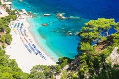 praias de Grécia - Apella em Karpathos Foto de Stock