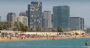 Praias e arquitetura da cidade de Barcelona Lapso de tempo filme