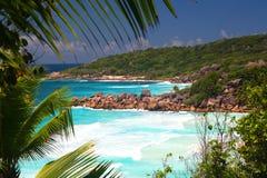 Praias tropicais pequeno Anse e Anse grande, escavação do La Imagens de Stock Royalty Free