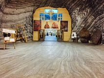 Praid盐教会在罗马尼亚 免版税库存照片