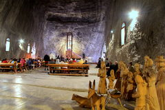 Praid salt mine from Transylvania. 120 meters underground, in a decommissioned gallery of the Praid salt mine, in Romania, nearly six thousand people are taking Royalty Free Stock Photography