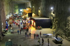 Praid salt mine from Transylvania. 120 meters underground, in a decommissioned gallery of the Praid salt mine, in Romania, nearly six thousand people are taking Royalty Free Stock Image