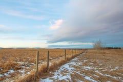 Praire-Zaun Landscape im Winter Stockbild