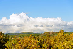 The prairie autumn scenery and Wind turbines Stock Photo