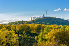 The prairie autumn scenery and Wind turbines Stock Image