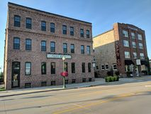 Prairie Berry & Crane Supply Co. Two wonderful old historic buildings in downtown Sioux Falls, South Dakota Stock Photos