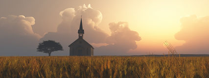 Prairie church tree with brown landscape Stock Image
