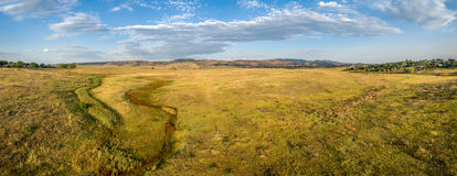 Prairie at Colorado foothills - aerial panorama Royalty Free Stock Images