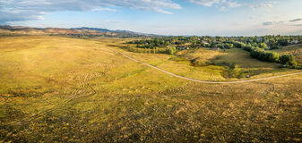 Prairie at Colorado foothills - aerial panorama Stock Image