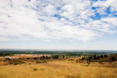 Prairie at Colorado foothills - aerial panorama Royalty Free Stock Image