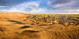 Prairie at Colorado foothills - aerial panorama Stock Images