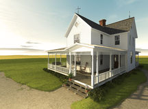 Prairie Farmhouse at Sunrise. Photorealistic rendering of a white clapboard farmhouse from the Victorian era.  Set on a never-ending grassland Stock Image