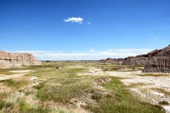 Prairie Grass Expanse in Badlands National Park. Badlands National Park. The park's 244,000 acres protect an expanse of mixed-grass prairie that support bison Royalty Free Stock Images