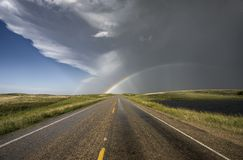 Prairie Hail Storm and Rainbow Royalty Free Stock Photography