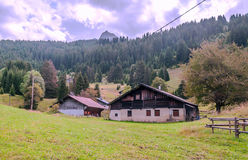 Prairie Houses in the French Alps Stock Photos
