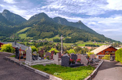 Prairie Houses in the French Alps Royalty Free Stock Photos