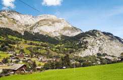 Prairie Houses in the French Alps Stock Image