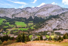 Prairie Houses in the French Alps Stock Images