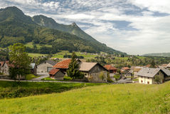 Prairie Houses in the French Alps Stock Photo