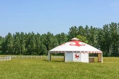 The prairie and mongolian yurt Stock Image