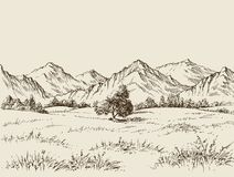 Prairie and mountains drawing. Prairie and mountains panorama sketch Stock Image