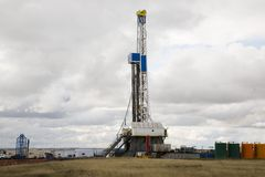 Prairie oil drilling rig Royalty Free Stock Image