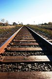Prairie Railway to the unknown. Railway tracks heading into the open prairies in North America Royalty Free Stock Photo