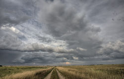 Prairie Road Storm Clouds Royalty Free Stock Images