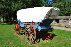 Prairie Schooner Wagon. A Prairie Schooner wagon is on display at Abraham Lincoln's New Salem State Historical site in Illinois Royalty Free Stock Photography