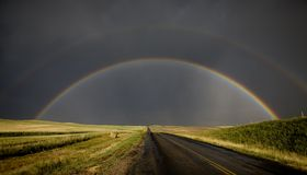 Prairie Storm Rainbow Saskatchewan Royalty Free Stock Photo