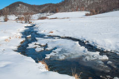 Prairie Stream in Winter Royalty Free Stock Photos