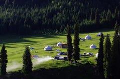 Prairie sunrise Ger resort. Jiang bu la ke Prairie sunrise Royalty Free Stock Photos