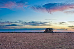 Prairie Sunset. Moon and sunset over a central Oklahoma prairie royalty free stock image